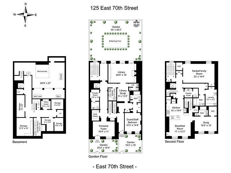 125 East 70th St Townhouse Sale In Lenox Hill Manhattan Streeteasy Bunny Mellon Floor Plans Townhouse