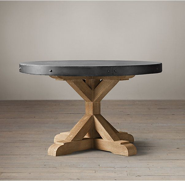 Salvaged Wood Concrete X Base Round Dining Table Concrete Wood Salvaged Wood Round Dining Table