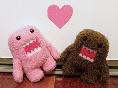Couple Cute Domo Kun Heart Kawaii Plush Animals Plush Dolls