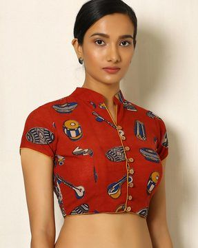 Kalamkari Print Cotton Blouse Hmm Cotton Saree Blouse