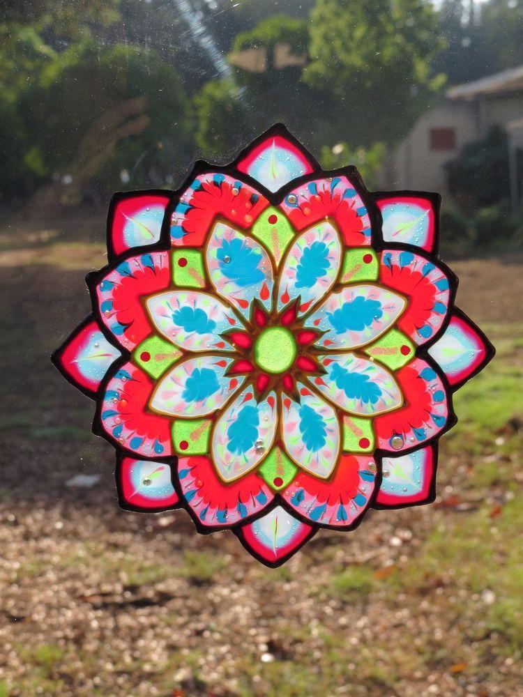 mandala static cling art sticker removable handmade decor unique flower window