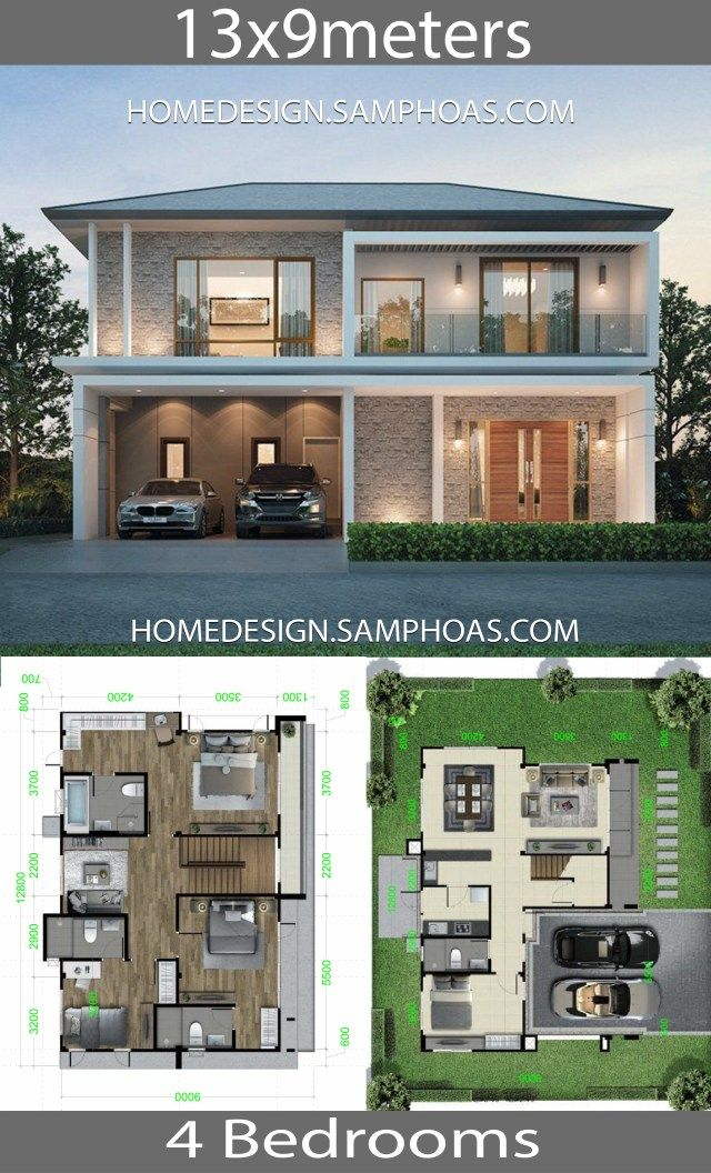 Home Design Plan 13x9m With 4 Bedrooms Home Ideassearch Model House Plan Home Building Design Cool House Designs
