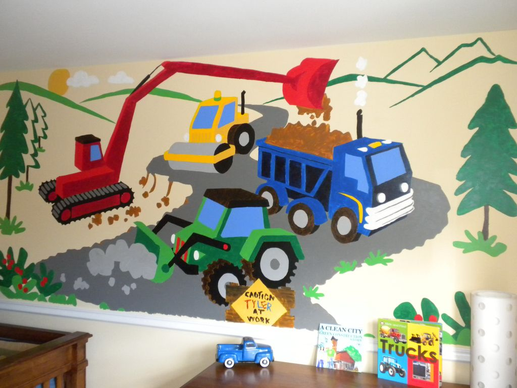 Brilliant Construction Vehicle Kids Wall Decal Nursery Boys Decor Stickers Art Mural Gift Wall Décor