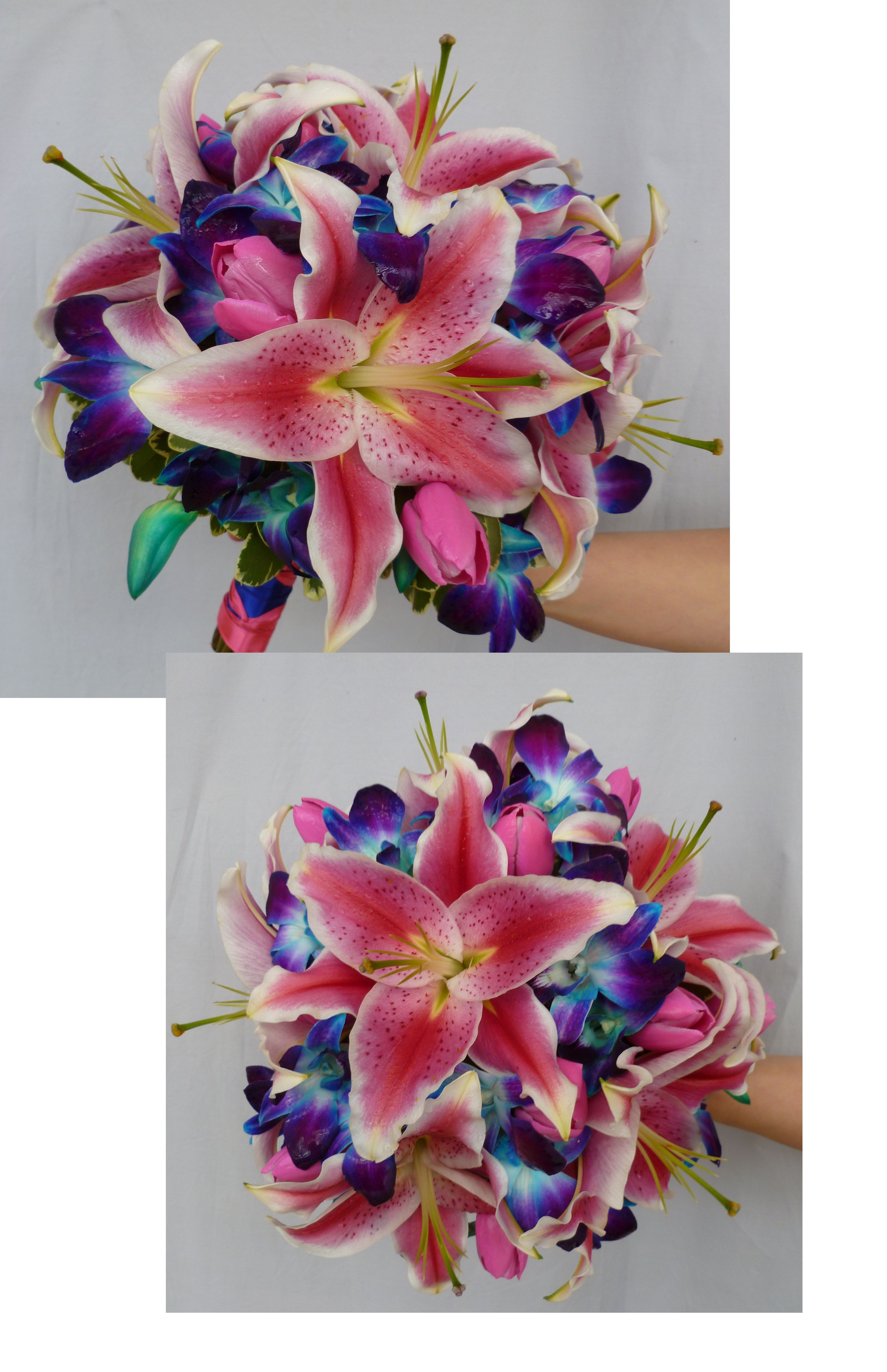 Posy Wedding Bouquet With Stargazer Lilies Pink Tulips And Blue