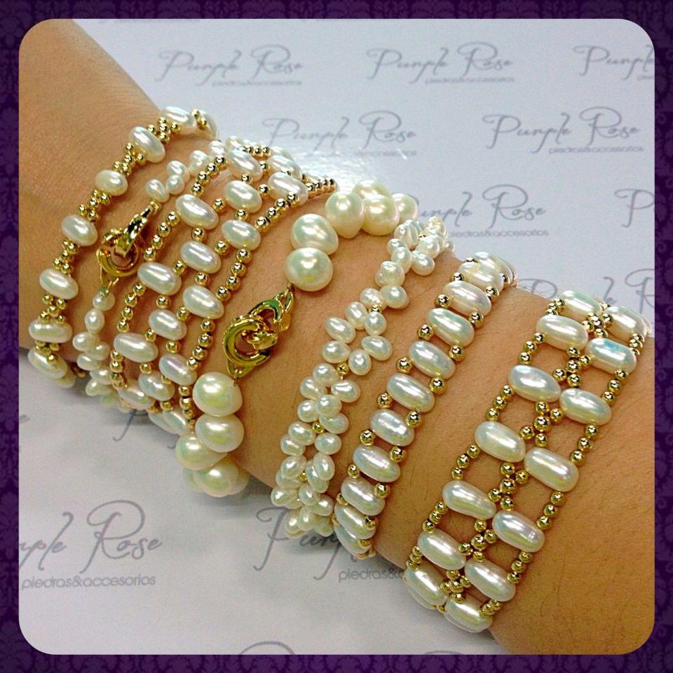 3b48d1bd1a11 Pulseras de perla de rio distintos modelos