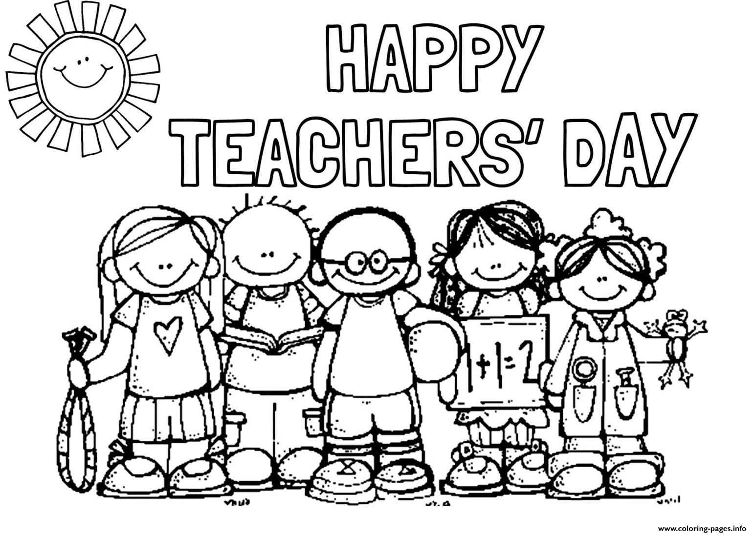 Print Happy Teachers Day Students Picture Coloring Pages Happy Teachers Day Teachers Day Student Picture