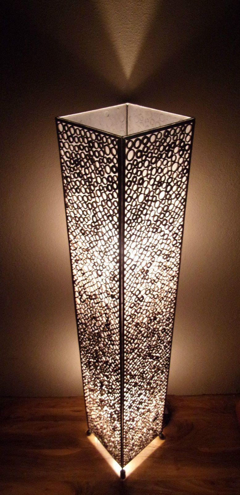 Pottery barn clift glass lamp ebay - Unusual Bamboo Circle Framed Box Lamp 150cm Hand Made Ethnic Bali Floor Lamp