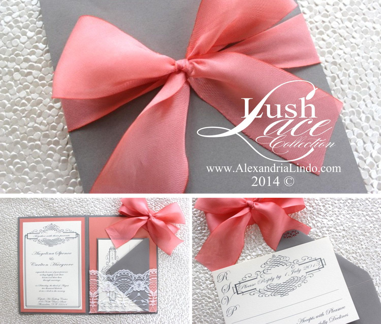 Grey Coral Lace Wedding Invitation by AlexandriaLindo on Etsy ...