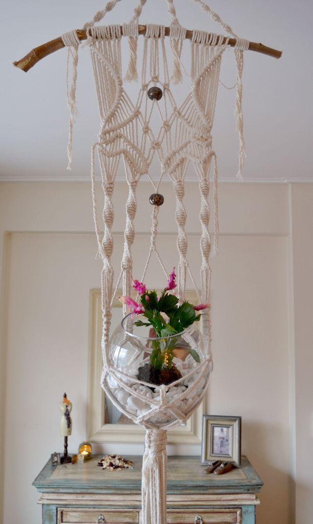 Boho Macrame Plant Hanger With Natural Cotton Twine Hanger Decor Design