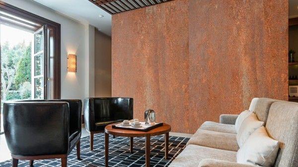 modern einrichten wohnideen wohnzimmer patina effekt akzentwand