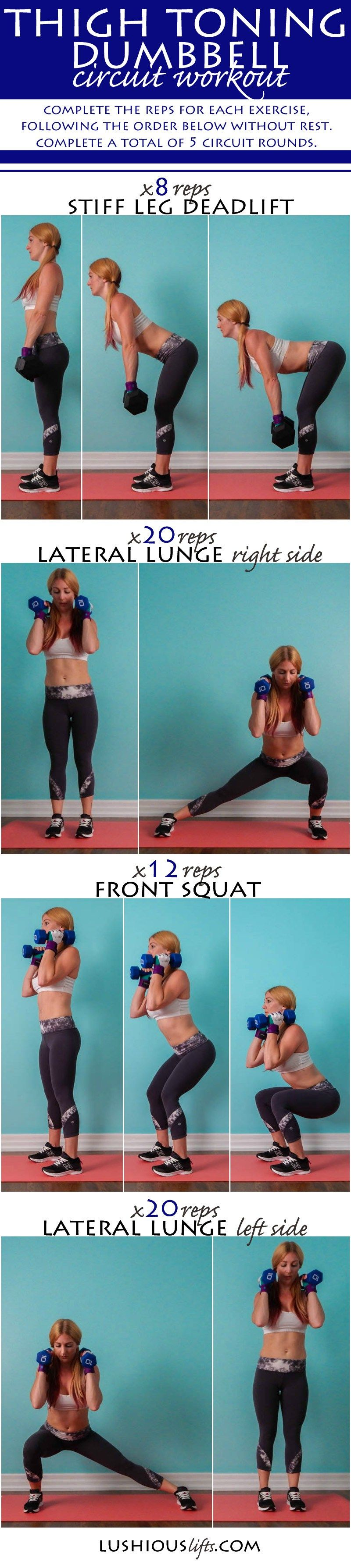 Thigh Toning Dumbbell Circuit Workout || lushiousLIFTS.com | all ...