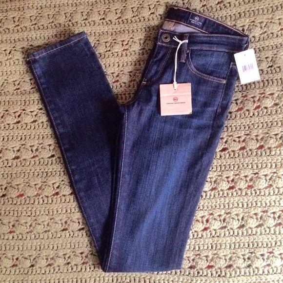 """AG Adriano Goldschmied """"The Aubrey"""" Jeans NWT """"The Aubrey"""" skinny straight jeans. Size 24. Inseam 33"""". Dark blue wash. They're a little tight on me, so I am unable to model, sorry. Price is firm unless bundled. NO trades or PayPal! AG Adriano Goldschmied Jeans"""