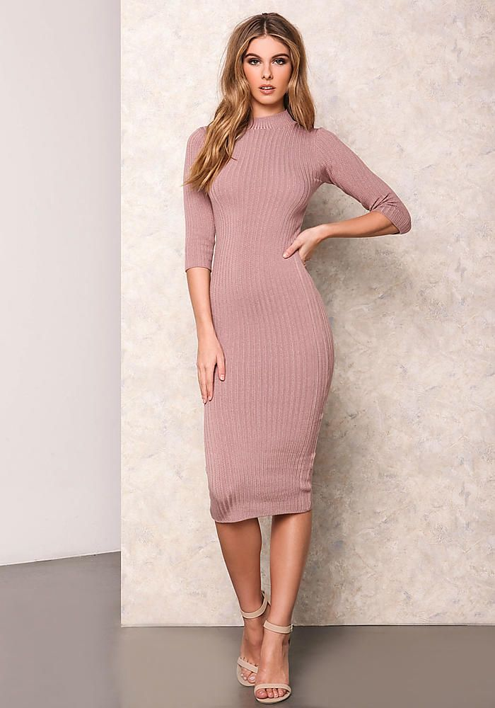 51d7a308a34 Dusty Pink Ribbed Turtleneck Bodycon Dress - New Arrivals