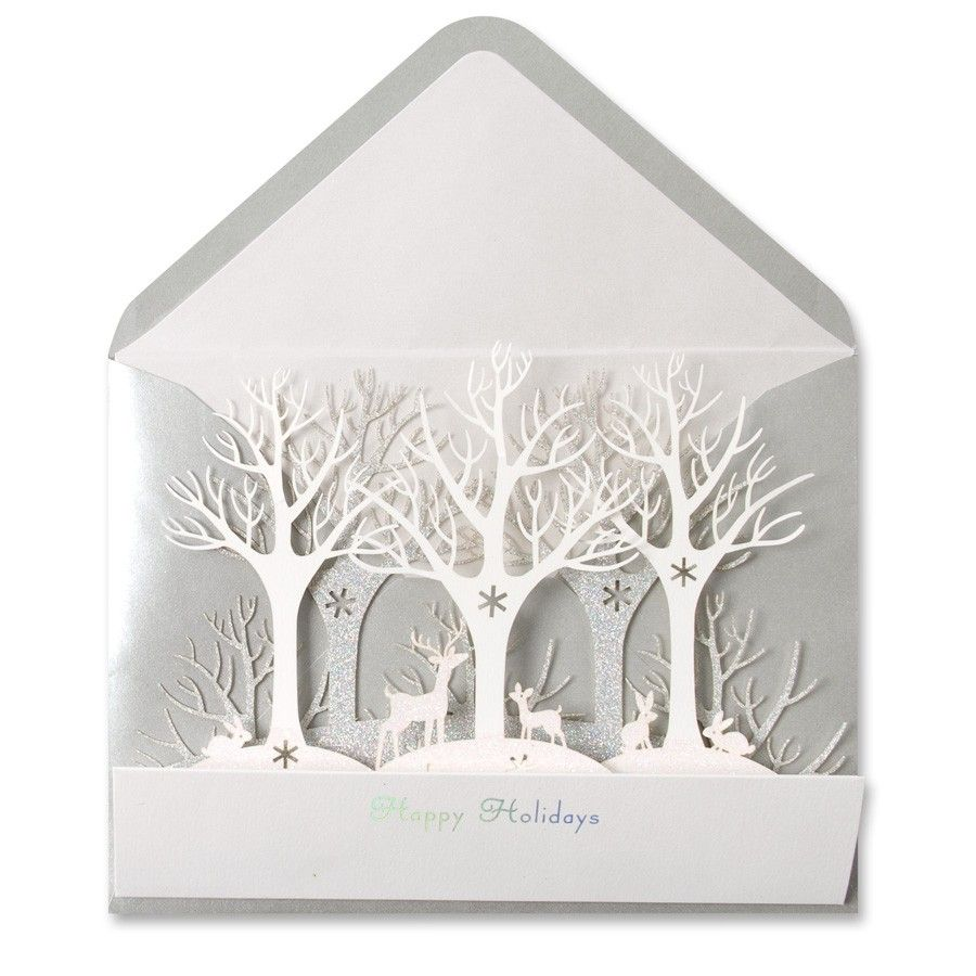 Winter forest lasercut card laser cutting