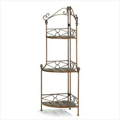 Rustic Style Metal Scrollwork Corner Bakers Rack Shelves Plant Standskitchen