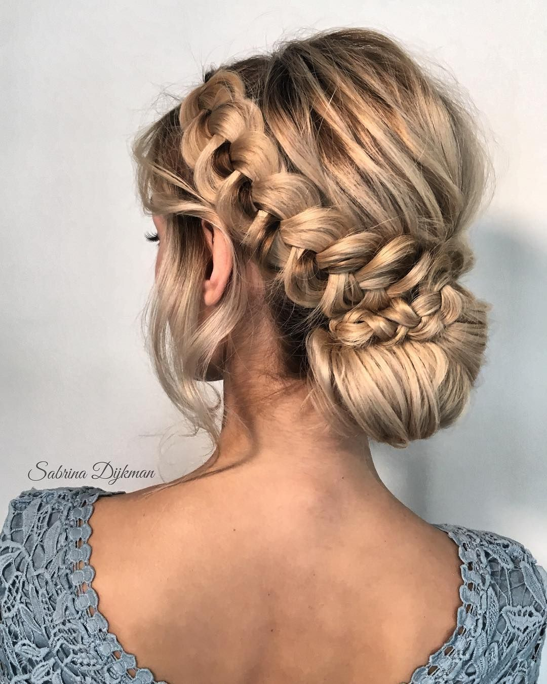 beautiful wedding braided updo hairstyle ,messy updo wedding
