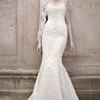 NEW Oleg Cassini size 6 Sweetheart Beaded Lace White Trumpet Mermaid Wedding Dress