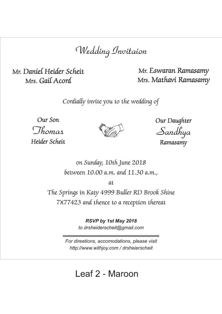 Tamil Wedding Invitation Wordings Tamil English Marriage Invitation Template Hindu Wedding Invitation Cards Marriage Invitation Card Wedding Card Wordings