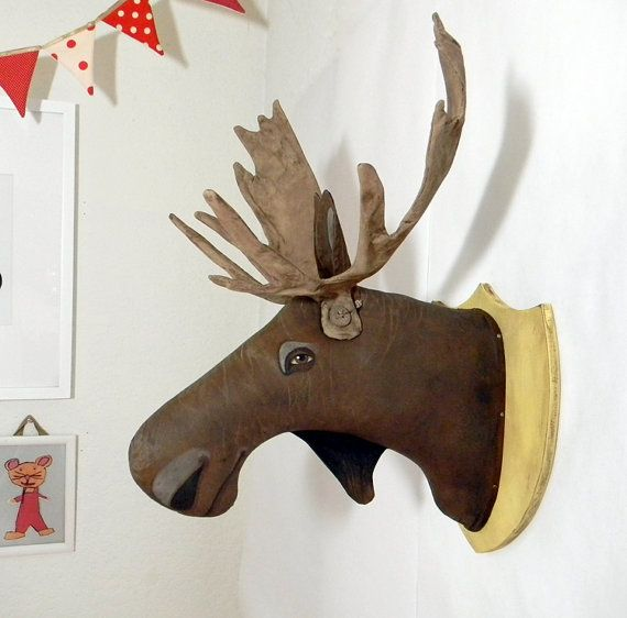Moose head original contemporary folk art friendly taxidermy made to order within a week - Fake stuffed moose head ...