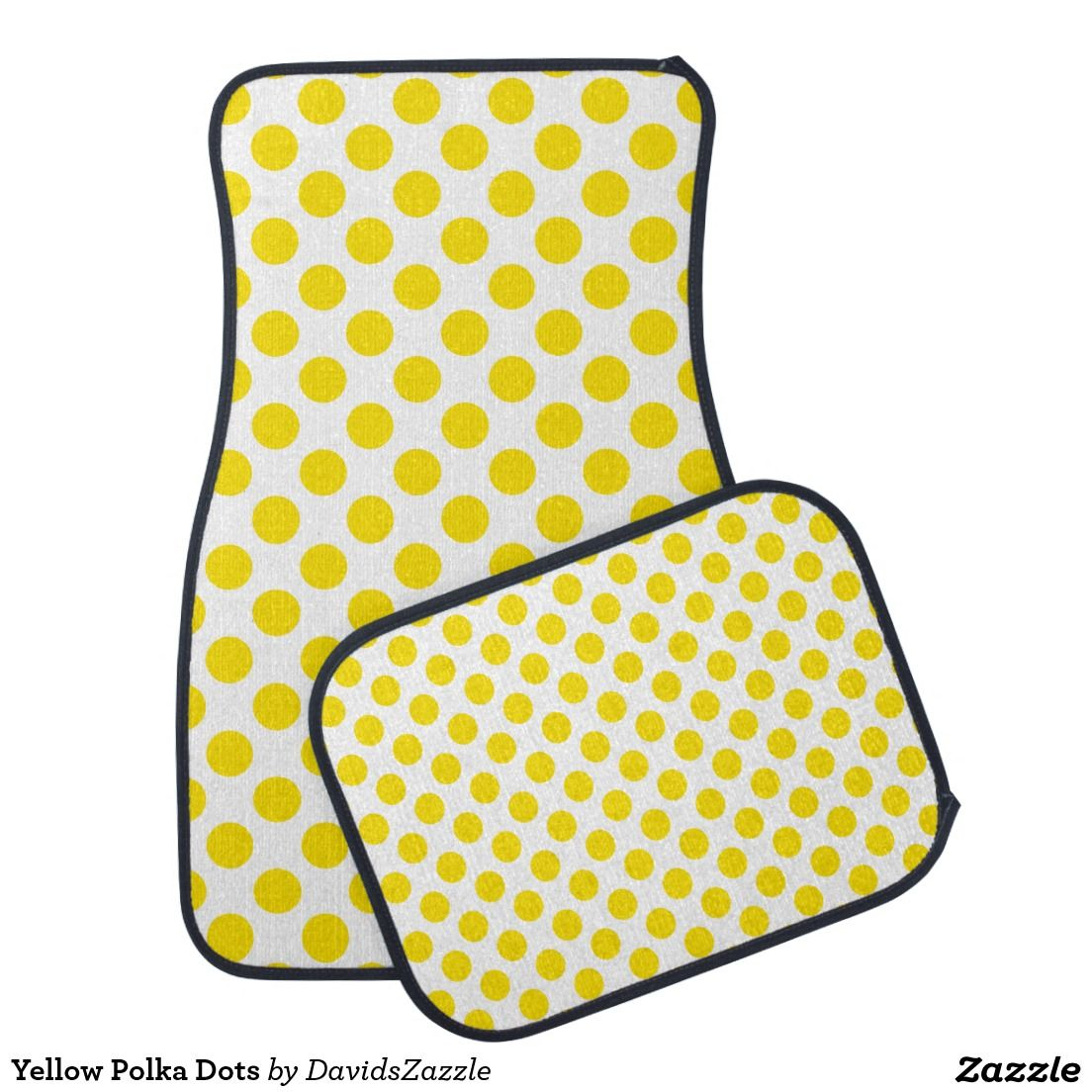 Yellow Polka Dots Front And Rear Car Mats Available On