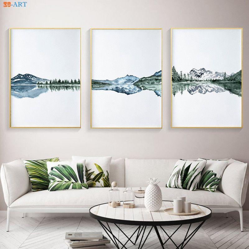 Geometric Print Modern Art Scandinavian Mountains Wall Art Poster Nordic Home Decor Abstract Landscape Artwork Black /& White Poster