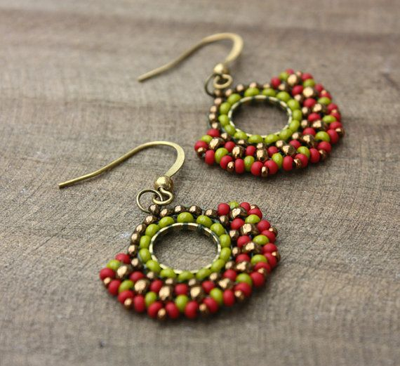Red and Green Beaded Hoop Dangle Earrings Brick Stitch by lamaisondefloria