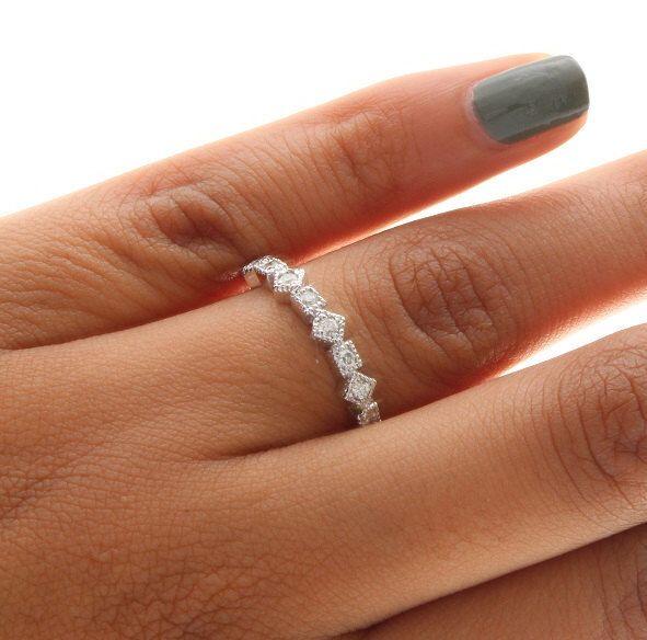 Unique Diamond Ring Unique Diamond Band Stackable Diamond Ring