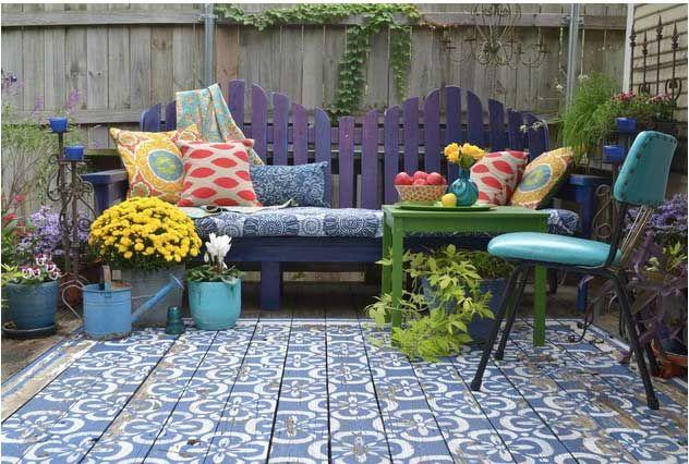 wood patio painted with stencils area rug look 2 trendir