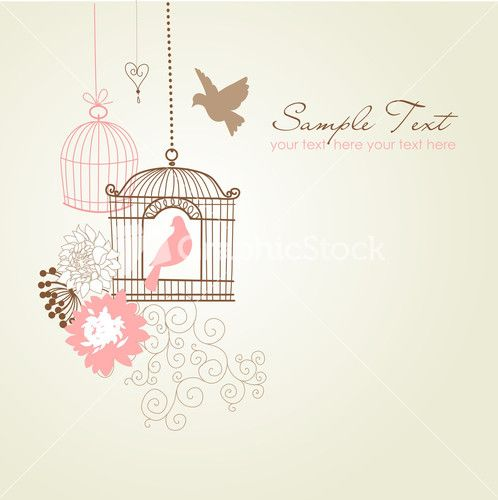 Beautiful Card With Two Birdcages And Birds