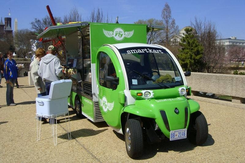Extensively Modified Gem Elxd Electric Car Nev Neighborhood Vehicle Used By A Food Street Vendor At The National Mall Washington D C