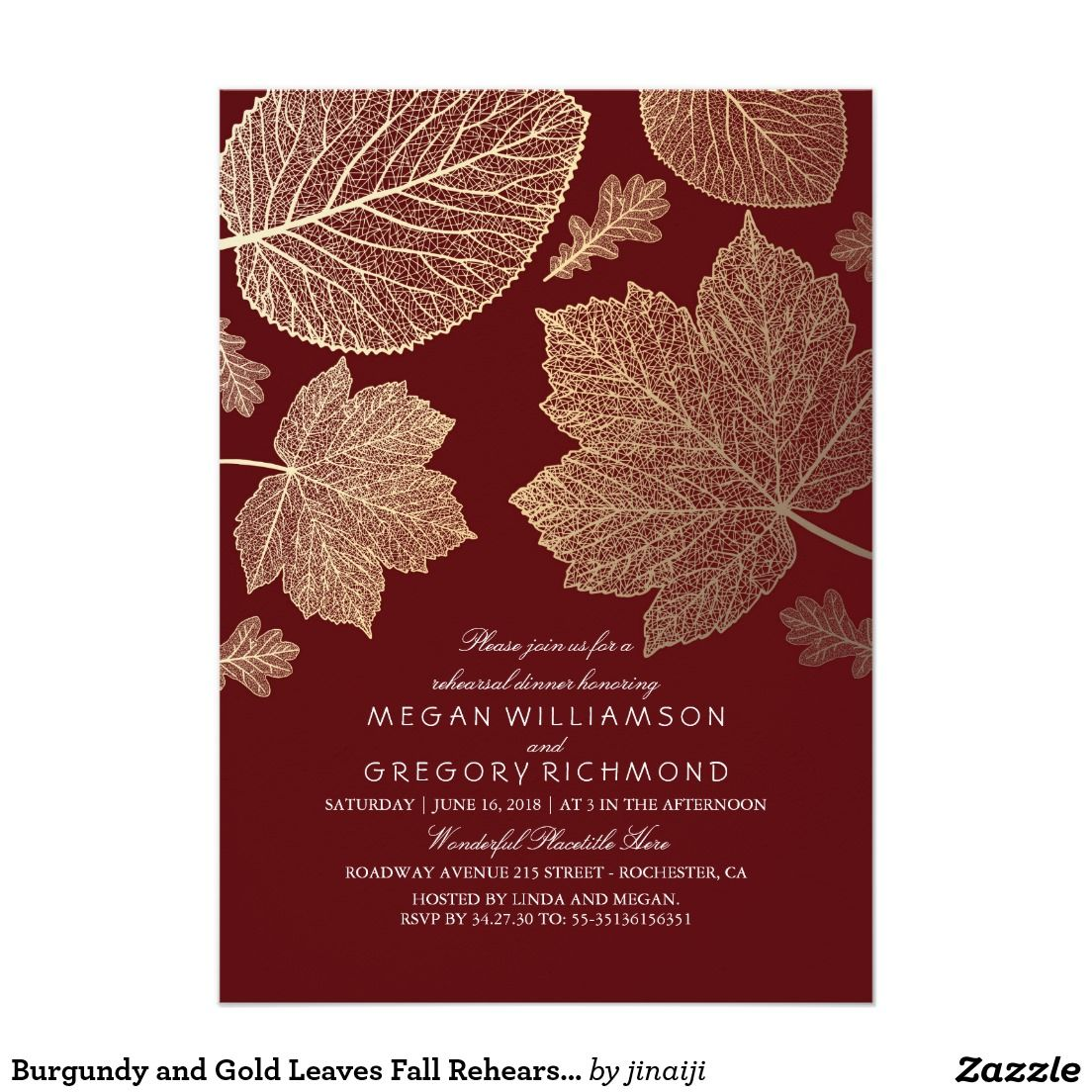 Fall Vintage Wedding Ideas: Burgundy And Gold Leaves Fall Rehearsal Dinner Invitation