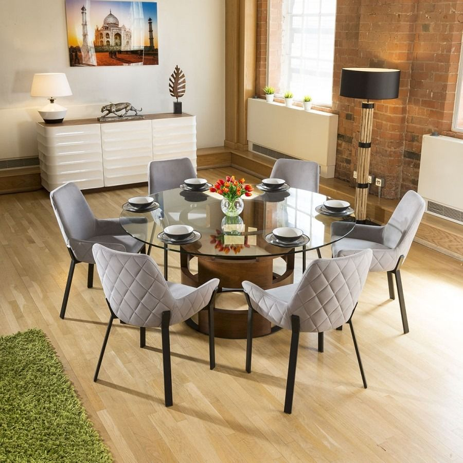 Huge Round Glass Top Walnut Dining Table Set 6 Light Grey Chairs In 2020 Glass Round Dining Table Glass Dining Table Set Round Dining Table
