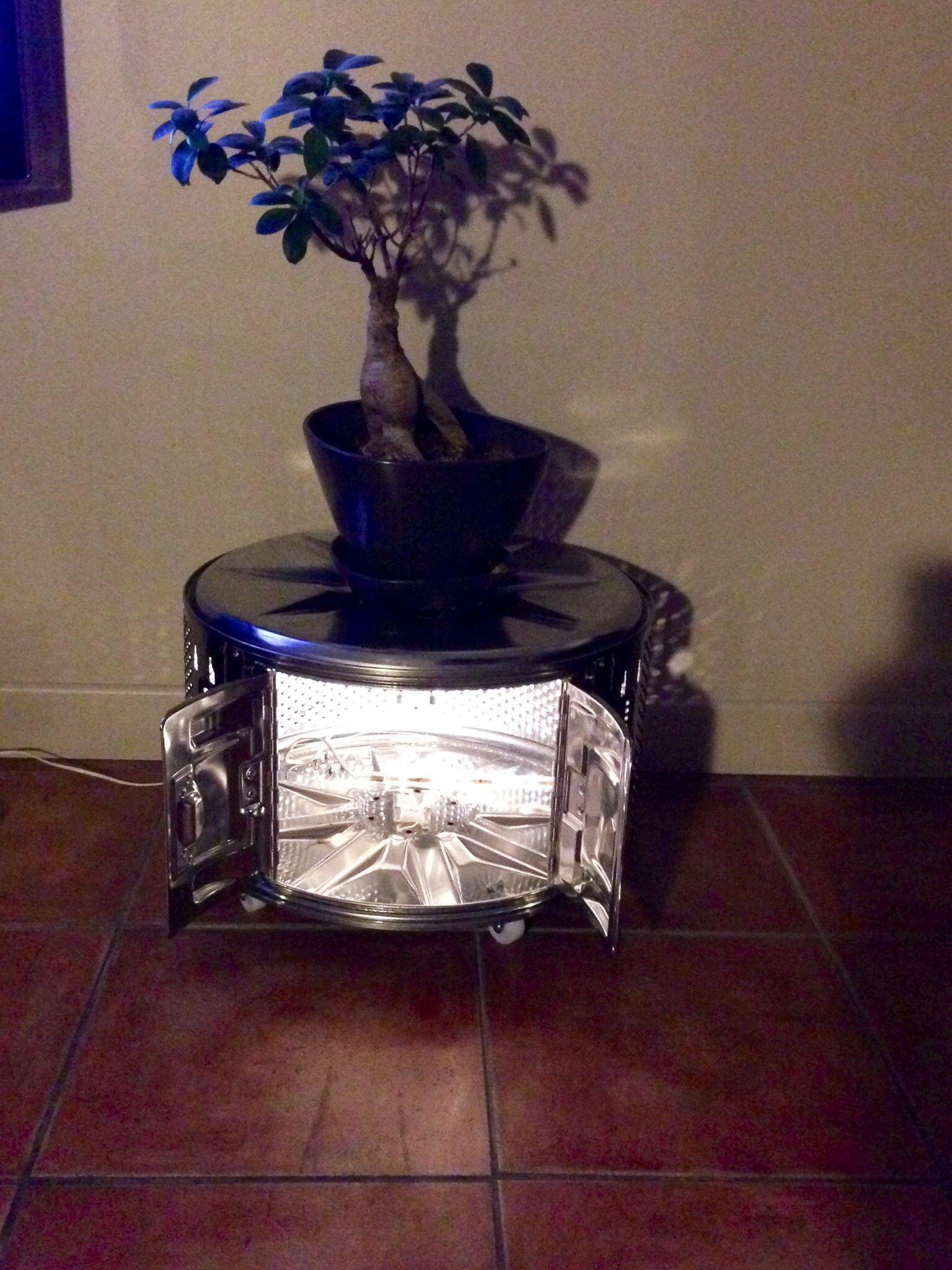 table basse faite a partir d un tambour de machine a laver avec clairage led table basse. Black Bedroom Furniture Sets. Home Design Ideas