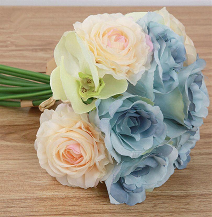 Click to Buy << Artificial Camellia Flower Bouquet 27cm Wedding ...