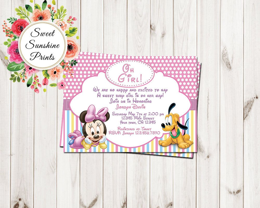 Minnie Mouse Baby Shower Invitation, Printable Baby Girl Custom ...