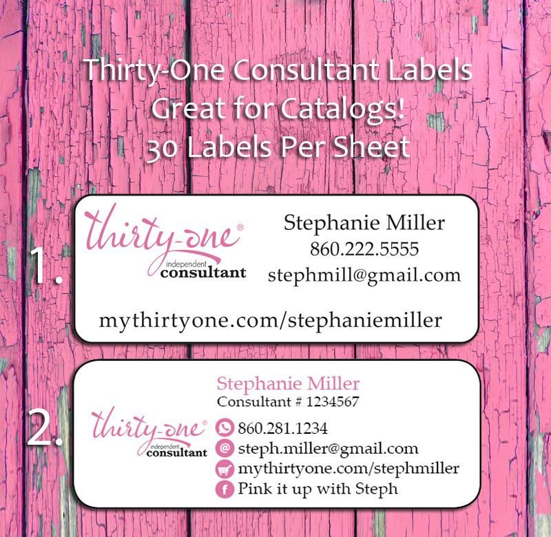 Personalized THIRTY-ONE Consultant CATALOG/Address LABELS, 30 Return ...