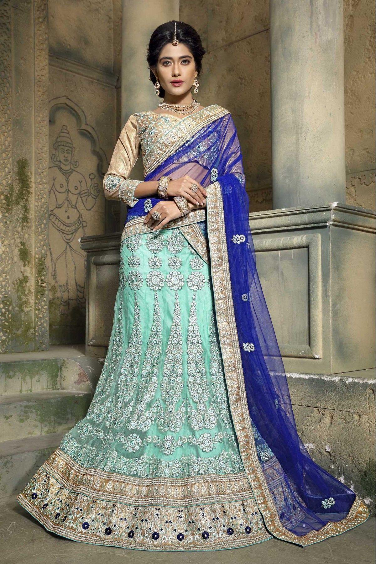Net Wedding Wear Lehenga Choli In Turquoise Colour   Wedding wear ...