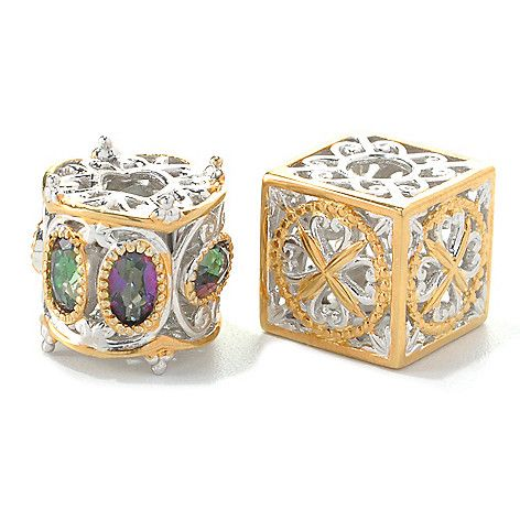 156-392 - Gems en Vogue Final Cut Set of Two Oval Mystic Topaz & Two-tone Cube Slide-on Charms