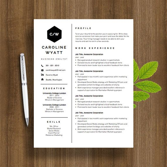 Professional Resume Template CV Template + Cover Letter Template - printable cover letter
