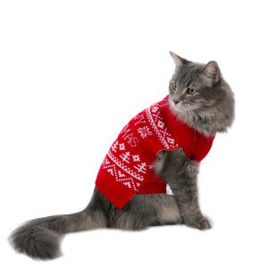 Whisker City Pet Holiday Meowy Christmas Sweater Clothes