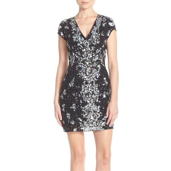Parker 'Serena' Embellished Body-Con Dress ($135) ❤ liked on Polyvore featuring dresses, black, v neck cocktail dress, beaded cocktail dress, sequin cocktail dresses, deep v neck bodycon dress and parker dresses