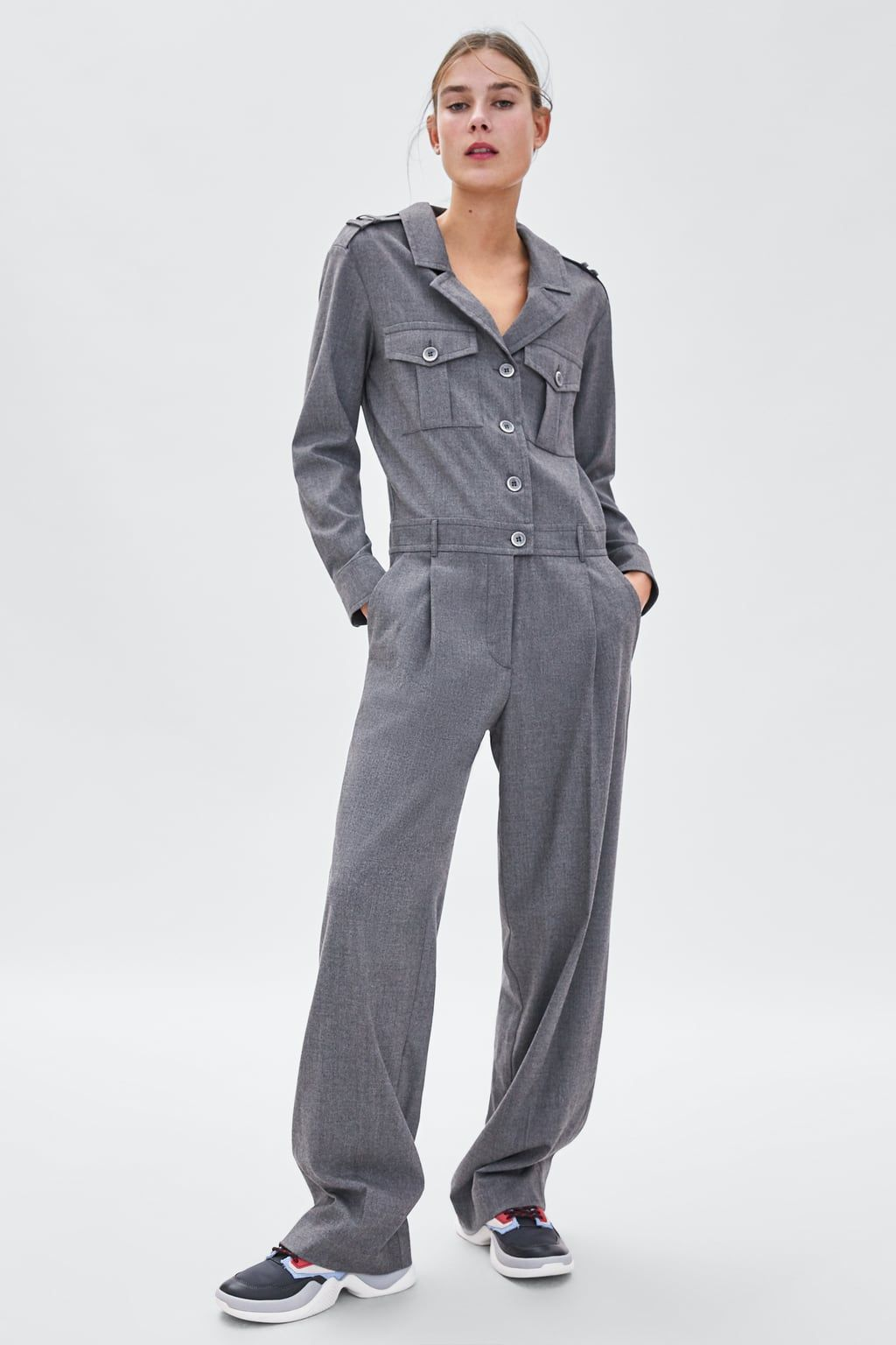 aceeb10d9f02 Image 1 of LONG JUMPSUIT WITH POCKETS from Zara Boiler Suit