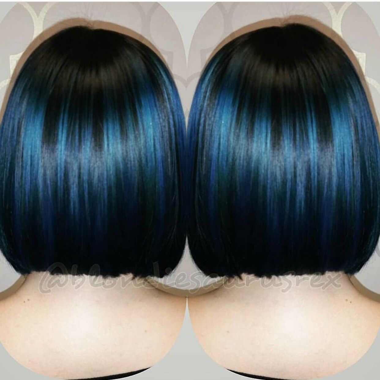 Black Bob Hairstyle Bob Haircut With Royal Blue Highlights Hair Painting By Michelle Saunders Hotonbeauty Com Denim Hair Indigo Hair Short Blue Hair