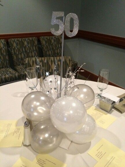 50th birthday silver and white balloon centerpiece Sheer Bliss