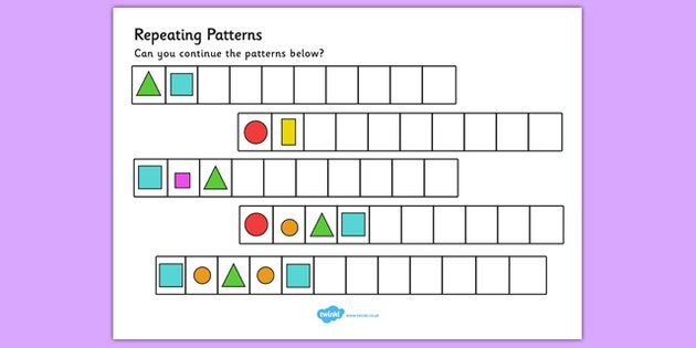 Repeating Pattern Worksheets (Shapes and Colours ...