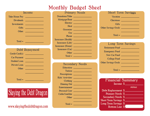 Kick Debt In The Teeth In  Check Out This Monthly Budget Form