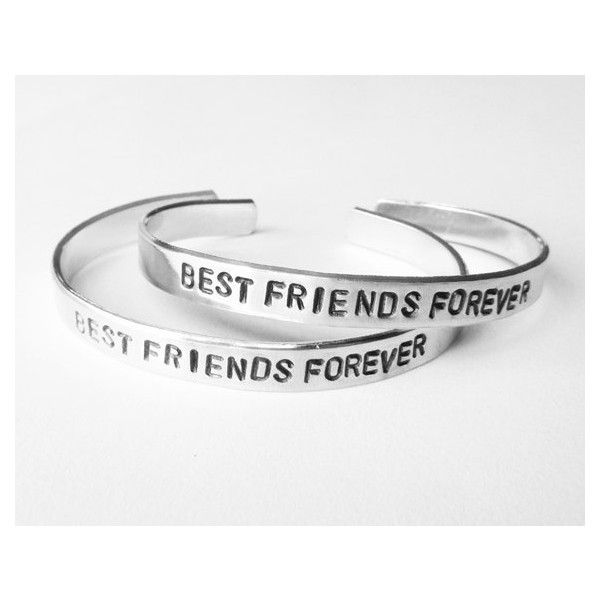 Best Friend Bracelets Matching Jewelry Hand Stamped Silver 40 Cad Liked On Polyvore Featuring Cuff Bracelet