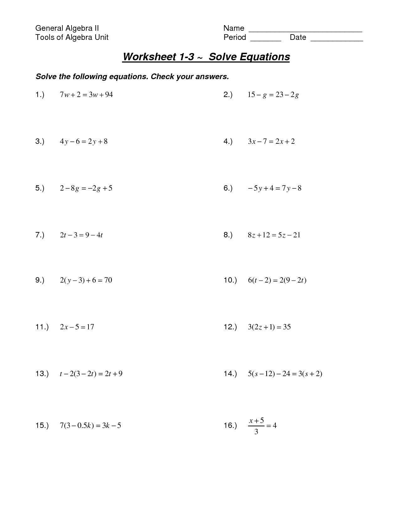 5 Solving Two Step Equations Worksheet In With