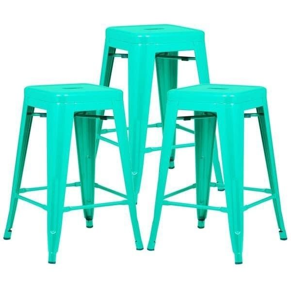 Poly And Bark Trattoria 24 Inch Counter Stool Set Of 3 Blue