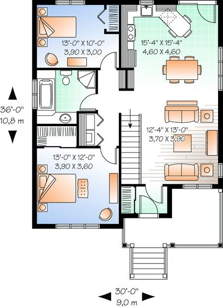 House Plan 034-00194 - Country Plan 1,017 Square Feet, 2 Bedrooms
